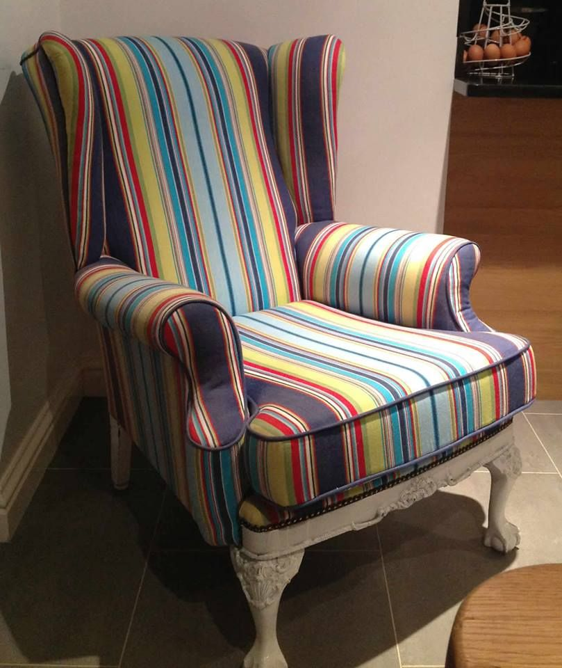 Navy Striped Half Wingback Chair: Water Polo Navy Blue Striped Fabric (With Images