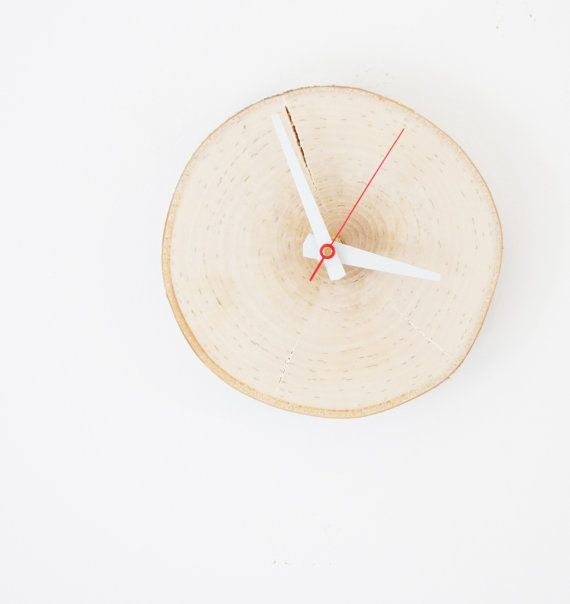 natural white birch forest wood clock - unwind and relax, rustic wall clock, wood slice clock, simple modern clock, forest decor,