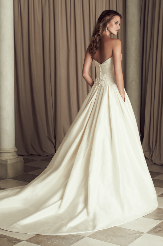 Silk Dupioni And Guipure Lace Wedding Dress Back View Crossover Pleated Bodice With Beaded