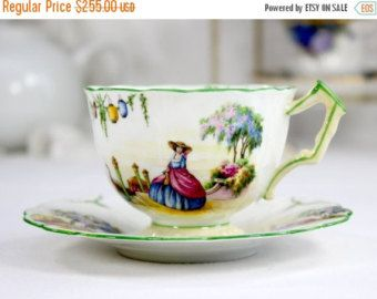 SALE Aynsley, Period Crinoline Lady Teacup, Tea Cup and Saucer, English Bone China