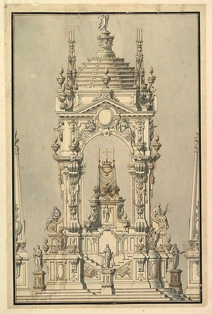 of a catafalque with royal crown and medal of the golden fleece for a   Elevation of a catafalque with royal crown and medal of the golden fleece for a    Architectural P...