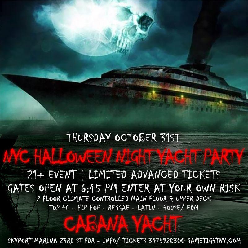 NYC Halloween Night Yacht Party Cruise at Skyport Marina