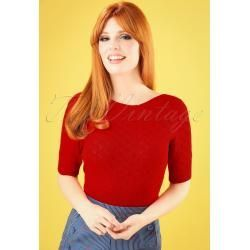 Photo of 50s Audrey Heart Ajour Top in Lipstick Red King Louie – 50s Aud …