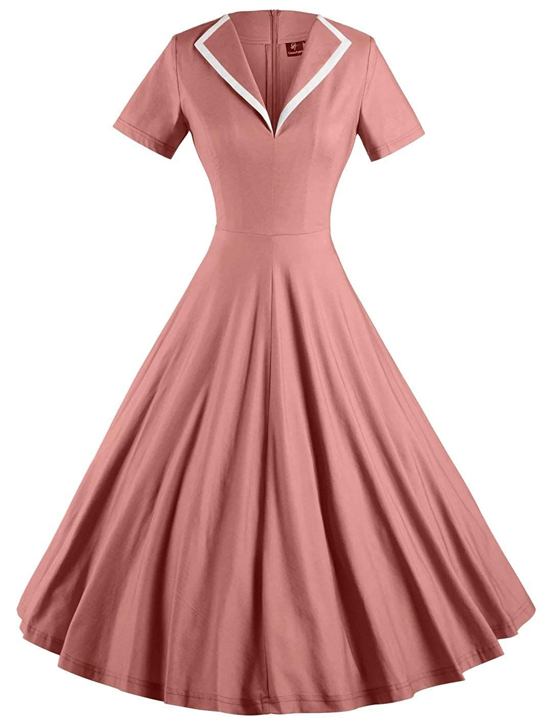 53ee481feb66 1950s Housewife Dress   50s Day Dresses GownTown Womens 1950s Retro Vintage  V-Neck Party Swing Dress $35.98 AT vintagedancer.com