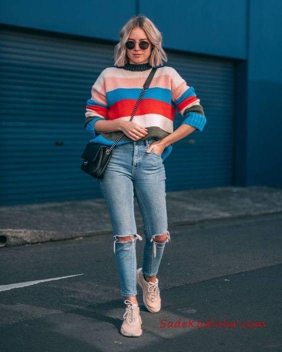 2019 Bayan Kombinleri Mavi Yırtık Kot Pantolon Pembe Renk Bloklu Salaş Kazak Pudra Spor Ayakkabı