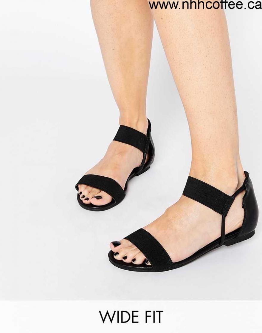 New Look Wide Fit Black Strap Flat