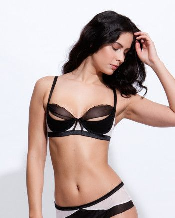 b518d720714 Bluebella Cecilia Quarter Cup Bra and Brief. Pink and Black Lingerie ...
