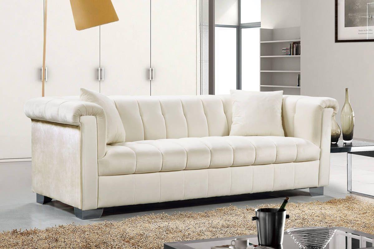 Kayla cream velvet pillow arms chrome legs sofa traditional