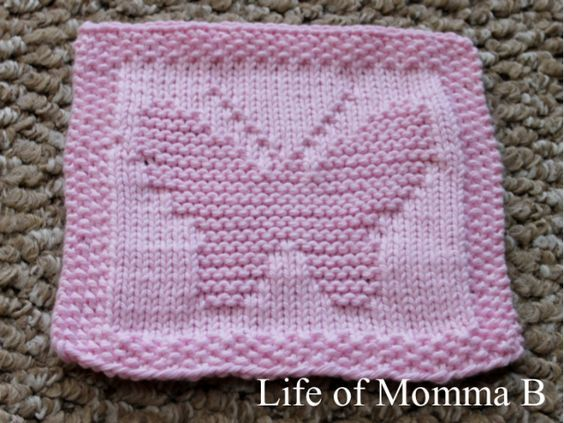 Butterfly Dishcloth | Dishcloth knitting patterns, Knitted ...