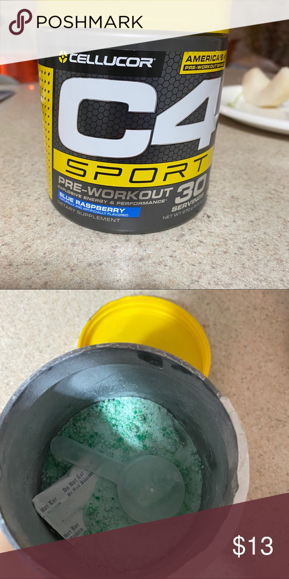 C4 Blue Razz Pre Workout Only Used About 10 Servings And Never Touched But It Did Start To Clump A Little Once It S Added To Water It D Preworkout Workout Pre