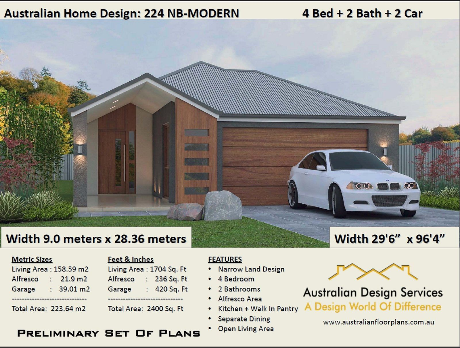 2400 Sq Foot 224 M2 4 Bedrooms Zero Lot Narrow Lot House Etsy Narrow Lot House Plans Narrow House Plans Ranch Style Floor Plans