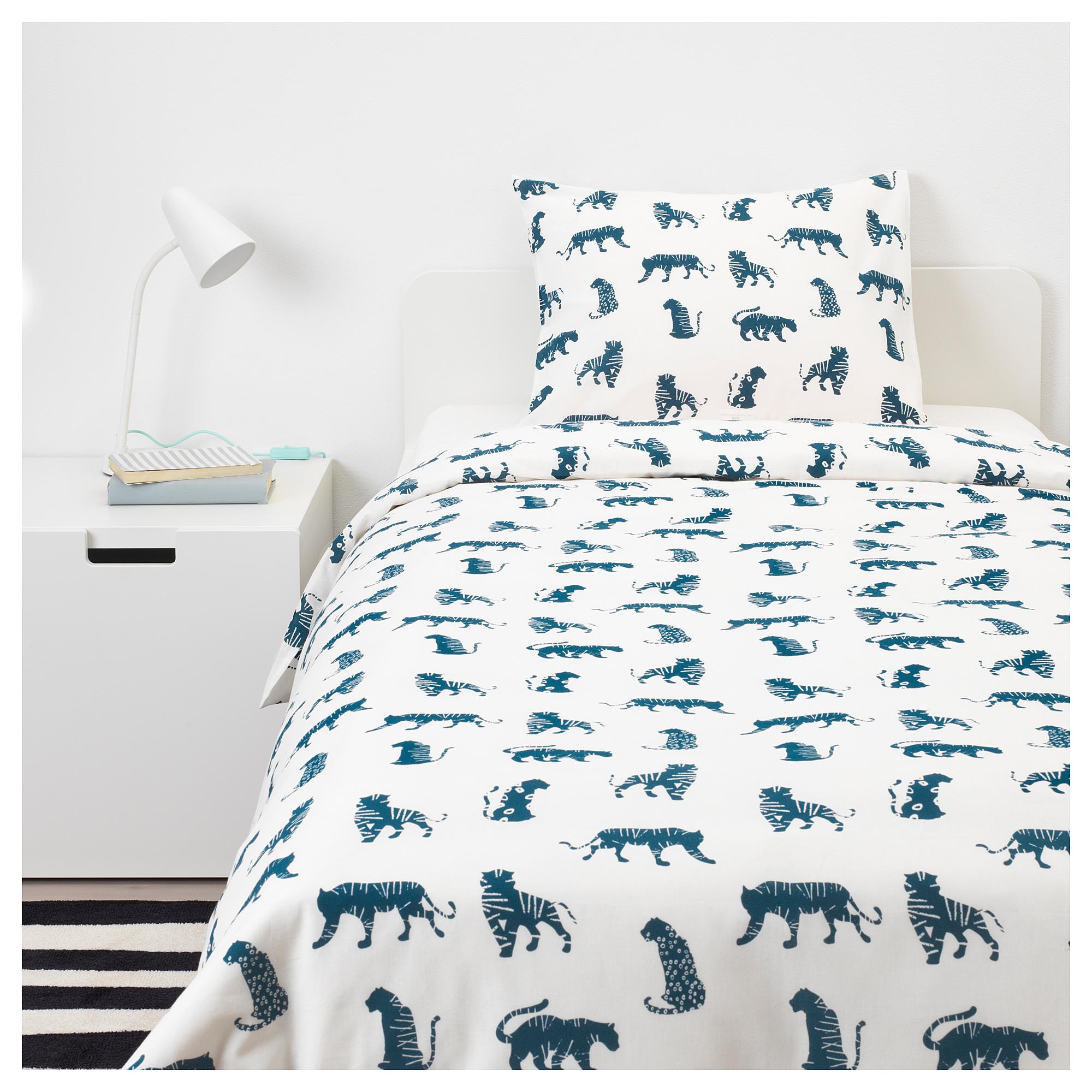 Urskog Duvet Cover And Pillowcase S Tiger Blue Twin Kids Bed