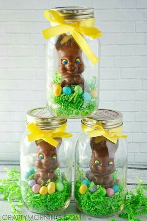 40 diy dollar store easter gift ideas easter easy and holidays who wouldnt want an easter bunny in a jar the package comes with 3 easter bunnies in a jar negle Choice Image
