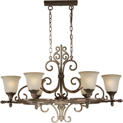 Series 391 Black Cherry Six Light Chandelier Forte Lighting Glass Shade Chandeliers Ceilin