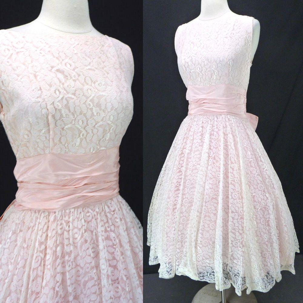 Vintage s s pink u white lace overlay ribbon waist cocktail