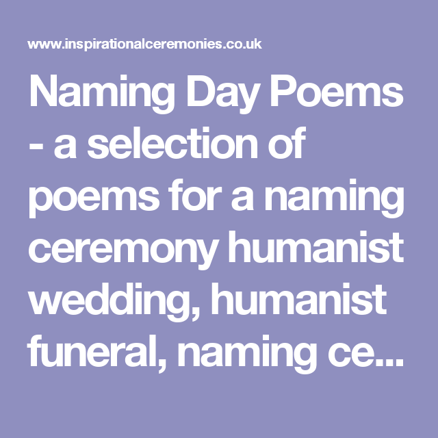 A Selection Of Poems For A Naming