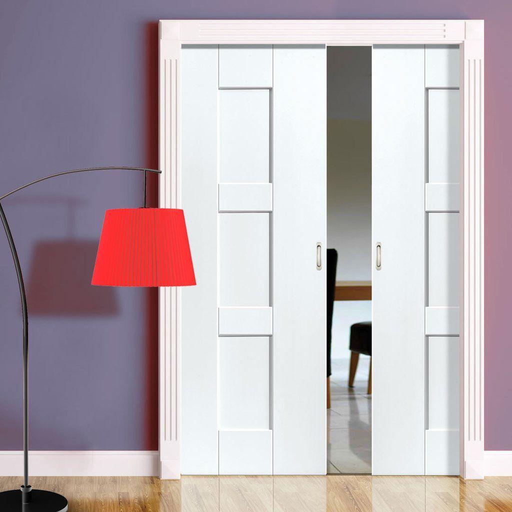 Geo Panelled Double Evokit Pocket Doors White Primed White Paneling Pocket Doors Interior Sliding French Doors