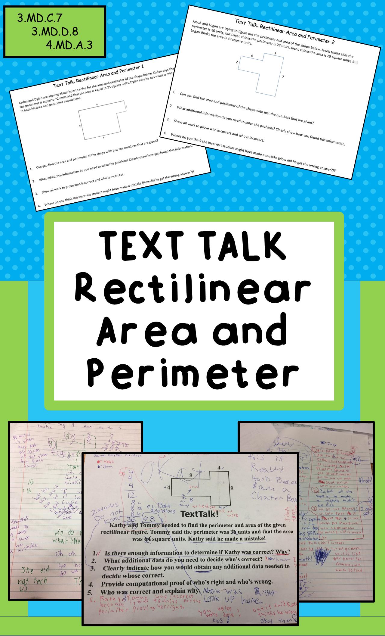 Text Talk Rectilinear Area And Perimeter Tasks Grades 3