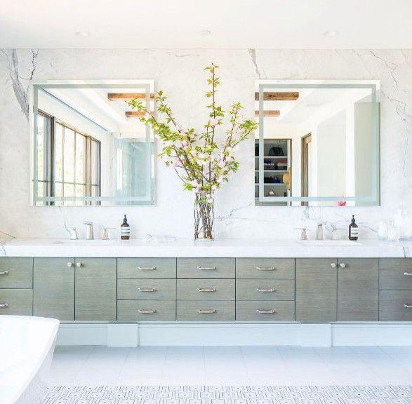Accented With Nickel Pulls A Gray Floating Dual Bath Vanity Boasts - Gray floating bathroom vanity