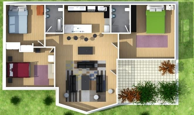 Plano de casa de 3 dormitorios planos pinterest for Distribucion de una casa moderna