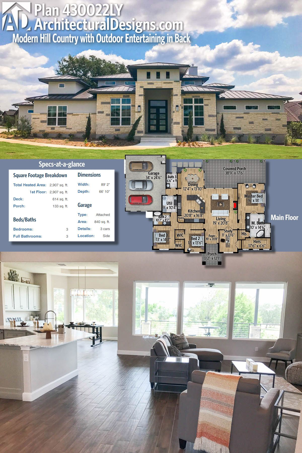 plan 430022ly one level hill country house plan outdoor living