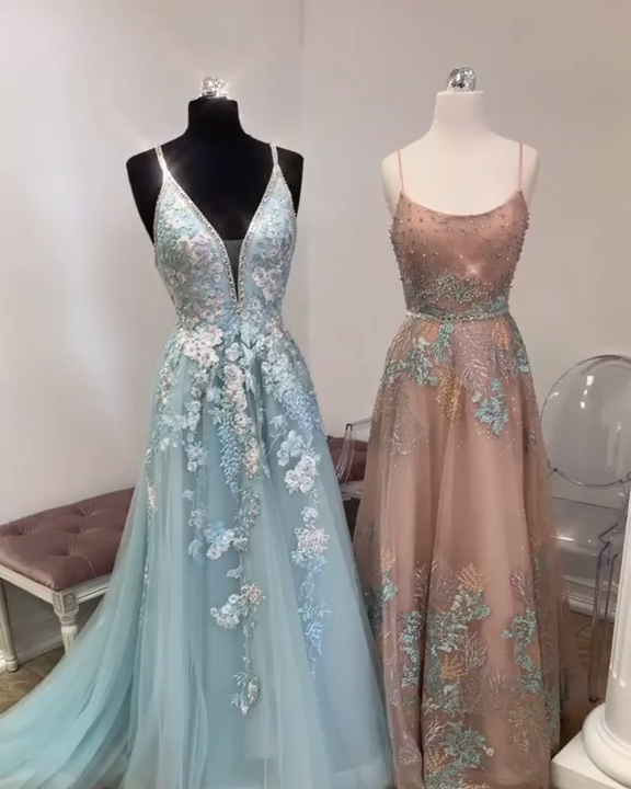Long A-line V-neck Blue Prom Dresses for Teenagers. The best custom-made dresses online! #FansFavs #prom2019