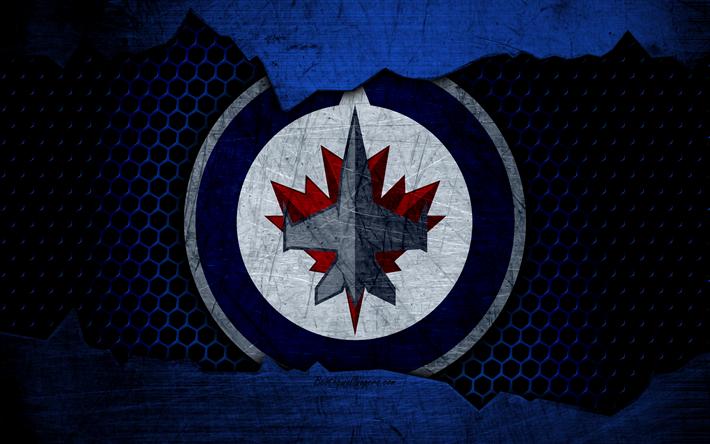Download wallpapers Winnipeg Jets, 4k, logo, NHL, hockey