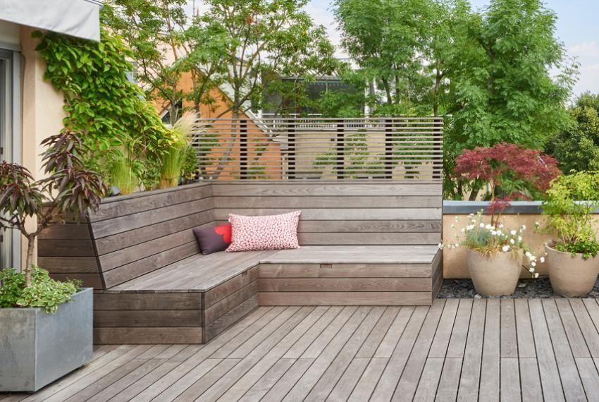 Outdoormöbel Sichtschutz Terrasse Holz Terrasse Holz