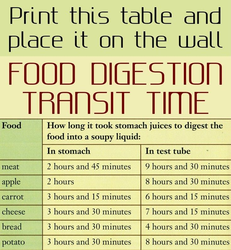 Print This Table And Place It On The Wall Food Digestion Transit