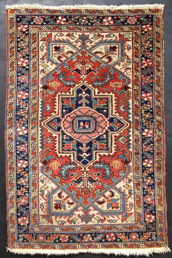 Sale Antique Persian Heriz Rug 3x5 Stunning Kitchen Rug Persian Heriz Rug Heriz Rugs 3x5 Rug
