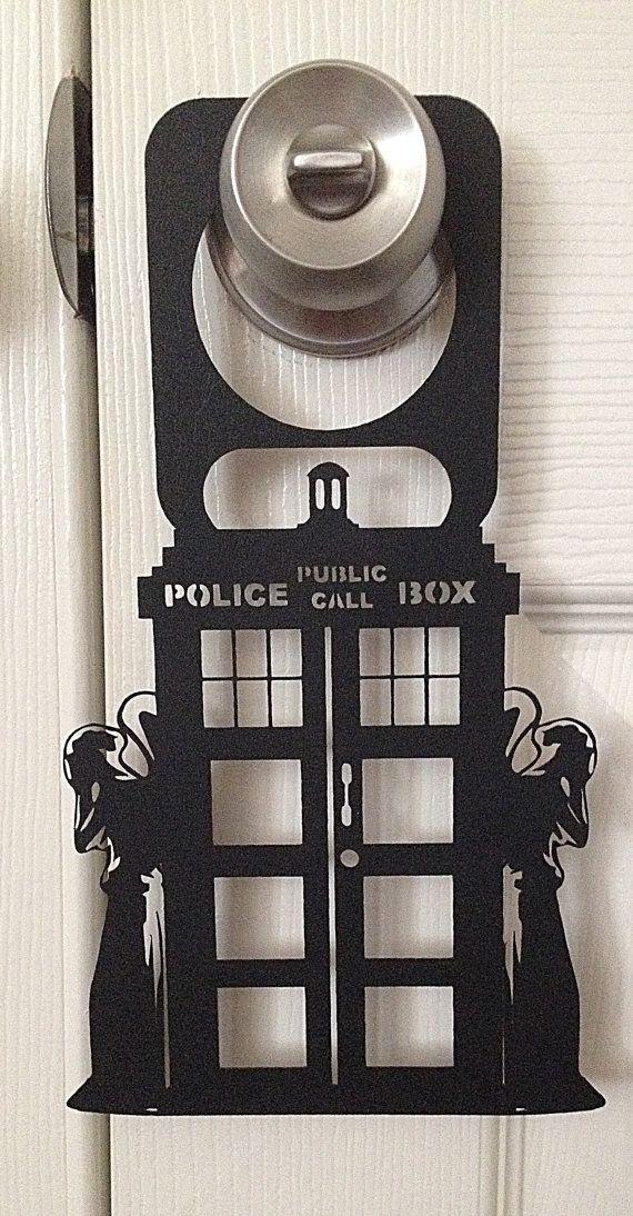 doctor who tardis weeping angel door hangers doors sign
