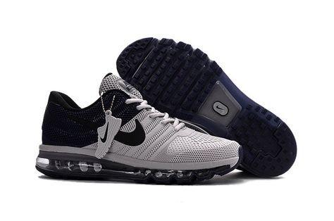 Hot Sale Nike Air Max 2017 Black Grey Men Shoes   my love box   Pinterest    Air max, Grey and Black