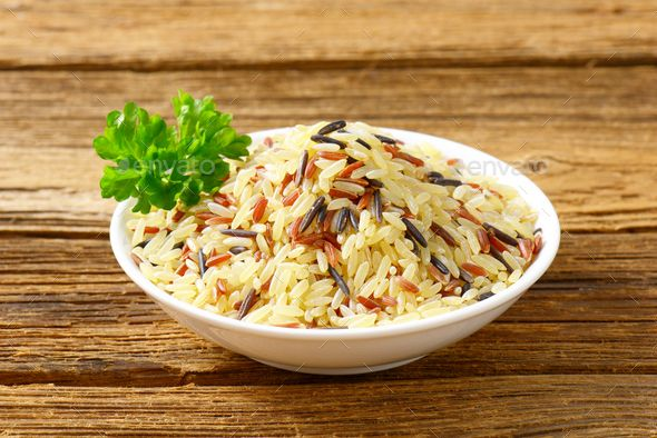 Bowl of Mixed rice by Vikif. Variety of rice in a porcelain plate #AD #rice, #Mixed, #Bowl, #Vikif