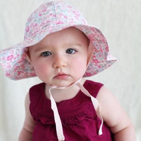 3a2cc4b6fb53b Precious Poplin Floral Printed 100% Organic Cotton Sun Hat for Baby Girls   Melondipity