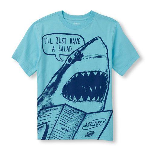 2831b19a Boys Short Sleeve 'I'll Just Have A Salad' Shark Graphic Tee   BOYS ...