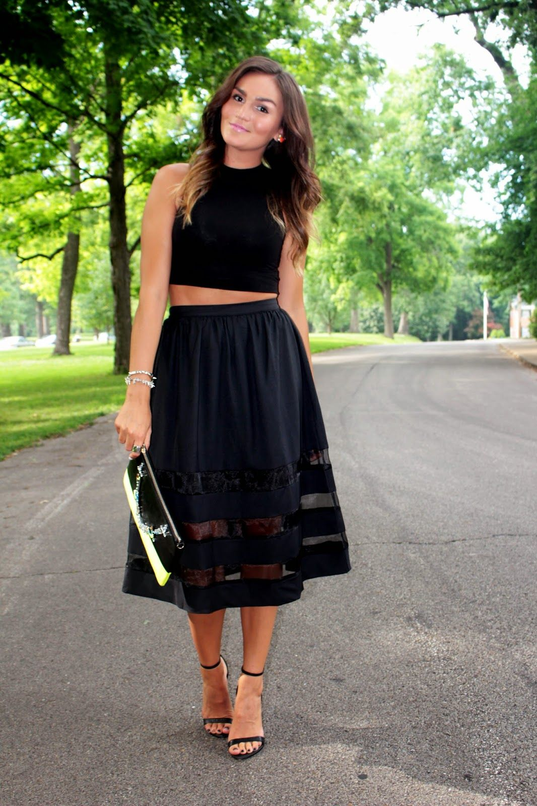 black crop top black sheer panel midi skirt www