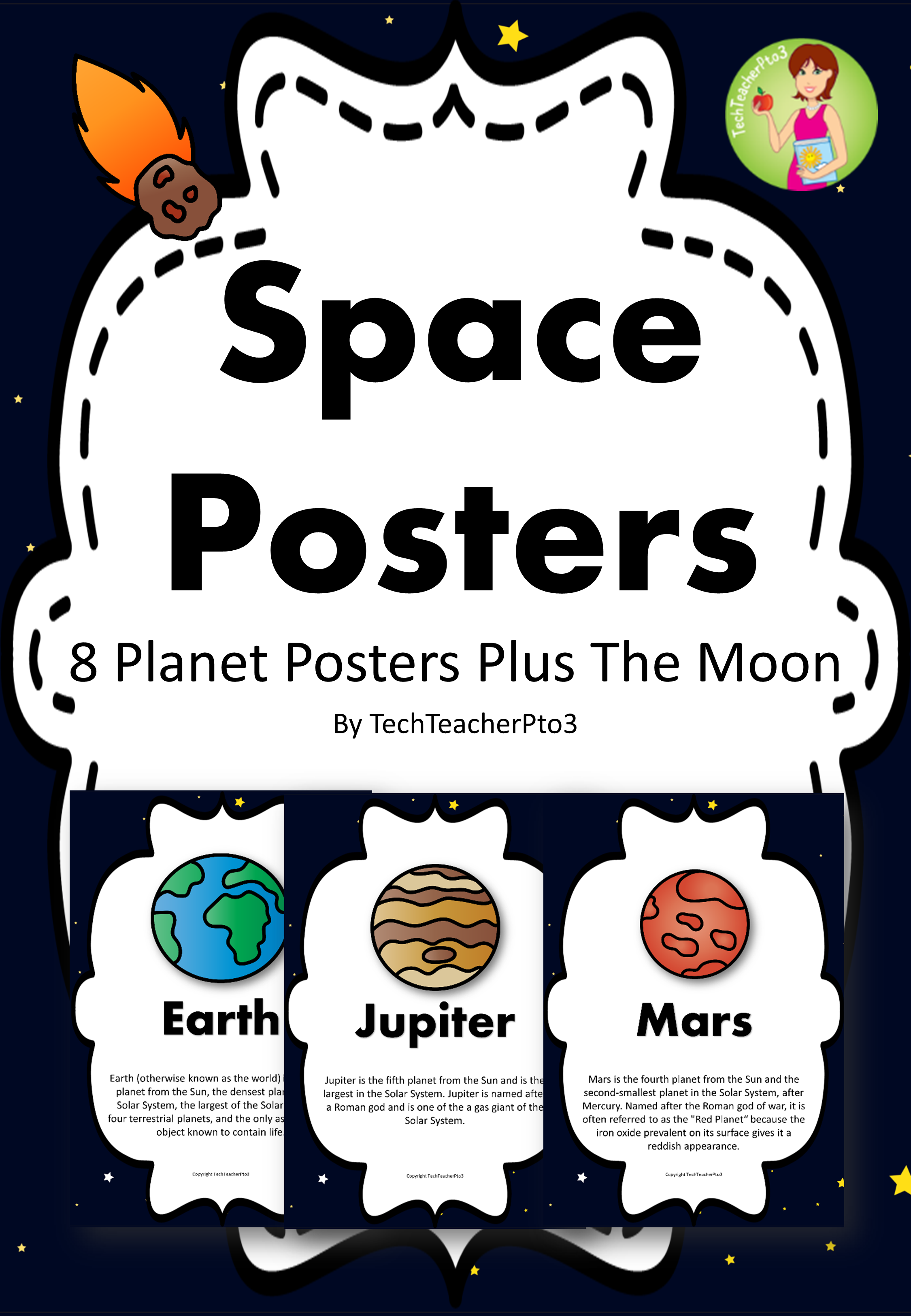 Space Posters 8 Planets Plus The Moon Full Colour With