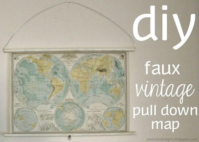 DIY Faux Vintage Pull Down Map