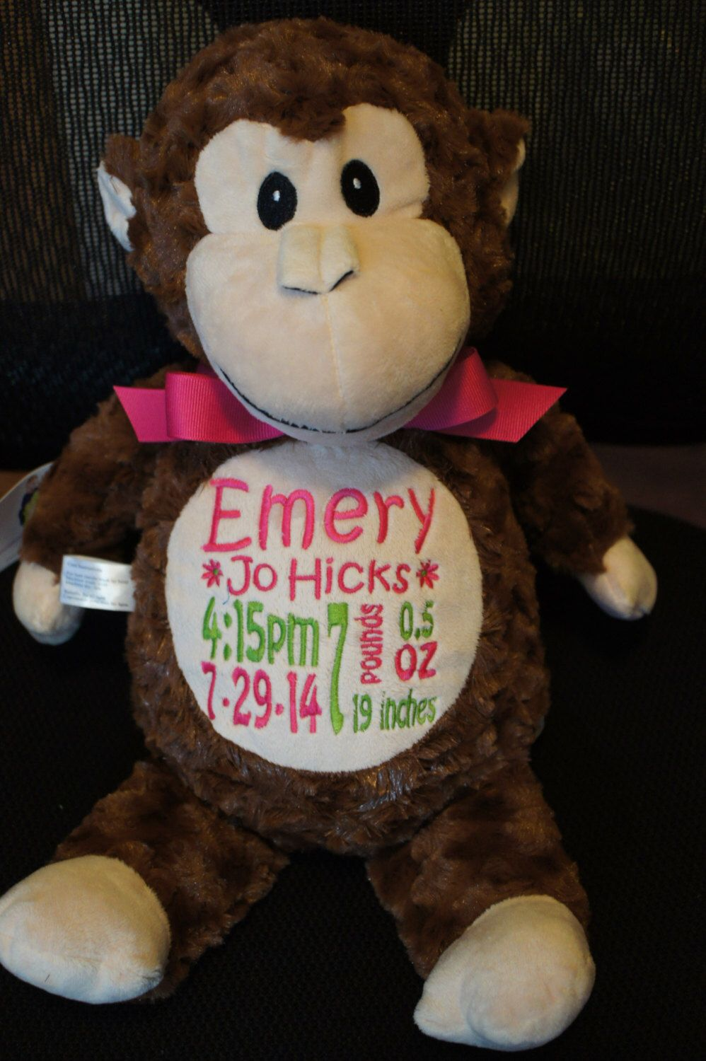 Personalized baby gift baby cubby huggles the monkey a plush personalized baby gift baby cubbies huggles the monkey birth announcement stuffed animal keepsake with machine embroidery negle Choice Image