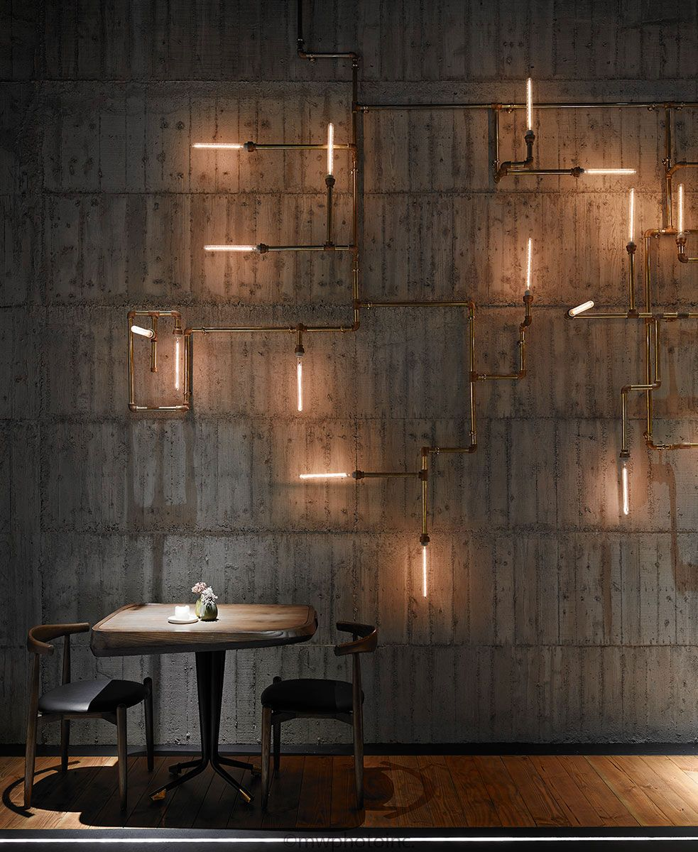 feature wall lighting. Restaurant In Taipei It Features An Excellent Industrial Wall Lighting Installation Find More Feature