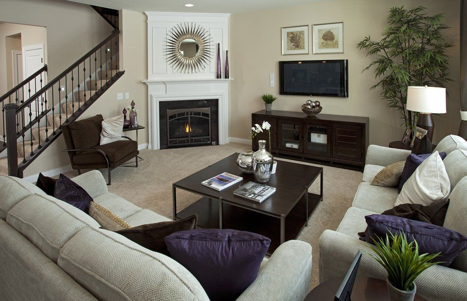 Really Like The Staircase Coming Down Into The Living Room With The Fireplace I Family Room Layout Corner Fireplace Living Room Furniture Placement Living Room