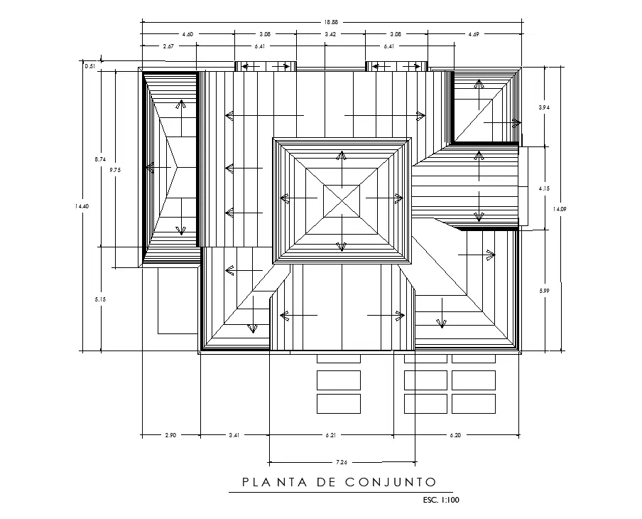 Roof plan of 17x13m house plan is given in this AutoCAD DWG drawing file Download the Autocad model