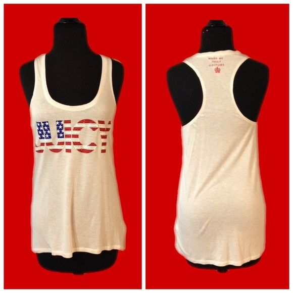 Juicy Couture Seeing Stars Racerback Tank Juicy Couture Seeing Stars Racerback Tank. Red white and blue with Juicy in rhinestones. Sz medium. 100% rayon measures approx 16 1/2 from arm pit to armpit flat. Slight mark on c see last pic Juicy Couture Tops Tank Tops