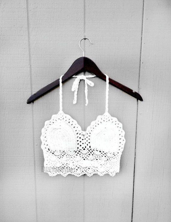 Crochet White Crop Top, Gypsy Crochet Top / Hippie top / Festival ...