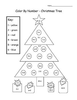 Christmas Tree Color By Number Add Subtract Christmas Math Worksheets Christmas Math Kindergarten Worksheets