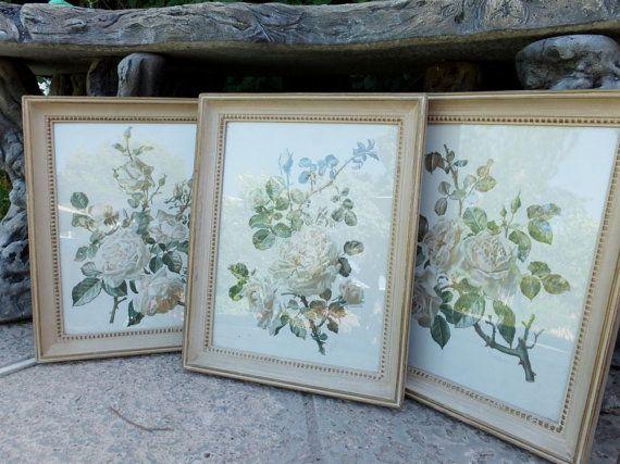 Set of Three Lovely Vintage Floral Prints / Kate by KlassicHome, $48.00