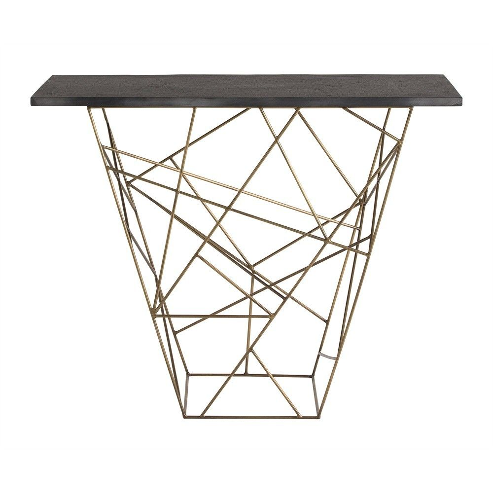 Material: Iron Finish: Antique Brass The geometric pattern created by the antique brass rods is in and of itself a piece of art. When we top it with a rough hewn black marble surface, it becomes functional art. Use in a hallway, or as a server in the dining room. Top is not attached.
