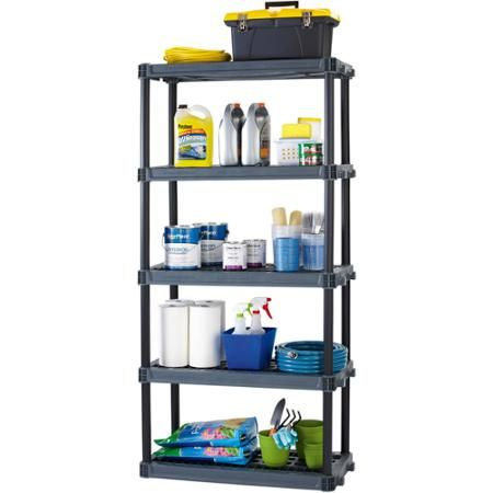 Utility Shelves Walmart Simple Workchoice 5Shelf Heavy Duty Plastic Storage Unit Black  Plastic Decorating Inspiration