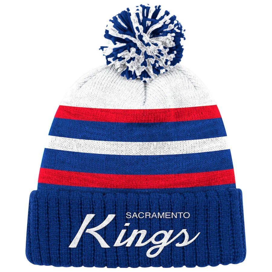 99d3d23a834572 Men's Sacramento Kings Mitchell & Ness Royal Color Block Special Script  Cuffed Knit Hat with Pom, Your Price: $24.99