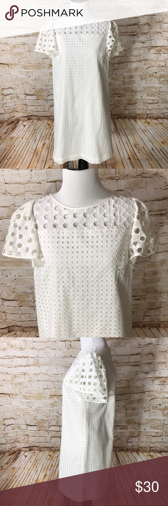 Loft White Eyelet Shift Dress New With Tags White Eyelet White Eyelet Dress Shift Dress [ 1740 x 580 Pixel ]